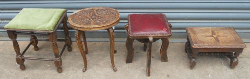 Four Small Antique Stools